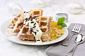 Waffle with oranges and pistachios
