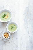 Cream of potato and cress soup with panko crumbs