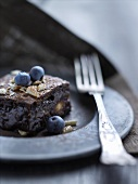 Chocolate-almond cake with blueberries