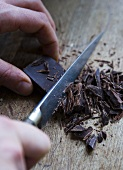 Chocolate being chopped