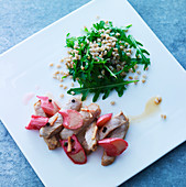 Veal with rhubarb and rocket