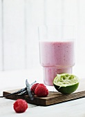 Raspberry and coconut milk smoothie