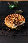 Veal pie, sliced