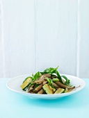 Pasta salad with courgettes and spring onions (Scandinavian)