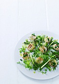 Frisee lettuce with asparagus and grilled scallops (Scandinavia)