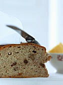 Nut bread with a knife