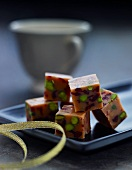 Pistachio and caramel cubes for Christmas