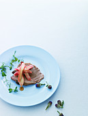 Veal with elderflowers and asparagus