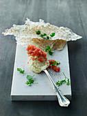 A horseradish dip with lumpfish roe with crispbread
