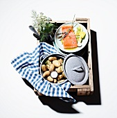 Marinated salmon and new potatoes in a picnic basket
