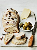 Rosemary and walnut ciabatta with olives and cheese