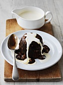 Sticky toffee pudding with cream