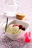 Gelato alla panna con i lamponi (creamy ice cream with raspberries)