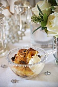 Panettone pudding with cream for Christmas