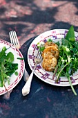 Baked goat's cheese with dandelion salad