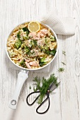 Farfalle pasta with salmon, broccoli, dill and a creamy sauce