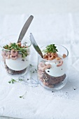 X in glasses topped with wholemeal croutons, North Sea shrimps and garden cress
