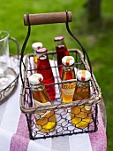 Italian herbal lemonade in a wire bottle basket