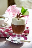 Chocolate mousse topped with whipped cream