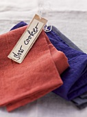 Linen cloths and a label with the words 'slow cooker' written on it
