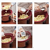 Potatoes being cooked in a slow cooker