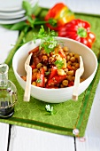 Chickpea salad with pepper and coriander