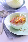 White cabbage soup with dried tomatoes