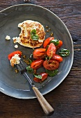 Frittele di ricotta (ricotta cakes with tomatoes and basil)
