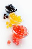 Colourful cornflour balls for bubble tea