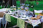 Set table in a spring garden