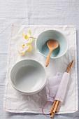 Empty bowls and chopsticks