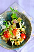 Bulgur salad with aubergines and tomatoes