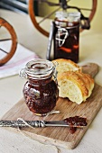 Strawberry and ginger jam with a croissant