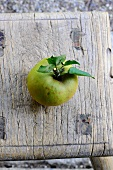 A rough skinned apple with stems and leaves