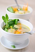 Vegetable soup with dumplings and mint