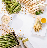 Asparagus and sources forming a frame