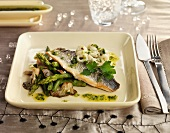 Bream with asparagus, beans, mushrooms and squid