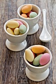Sugared almonds in egg cups
