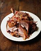 Carved roast goose
