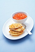 Blinis with salmon caviar