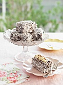 Lamingtons (cake with chocolate glaze and dessicated coconut)