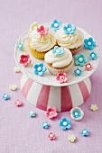 Three cupcakes in a sea of sugar flowers