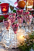Beetroot salad in stemmed glasses for Christmas dinner (Sweden)