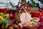 Grilled ham with mustard for Christmas (Sweden)