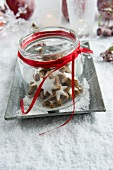 Jar of star-shaped cinnamon biscuits on tray in artificial snow