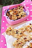 Homemade granola bars for a picnic