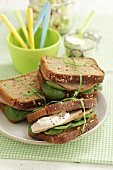 Roast beef sandwiches with fresh baby spinach