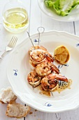 Grilled lemon prawns