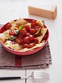 Ravioli with a cherry tomato sauce