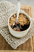 A wintry blackberry crumble